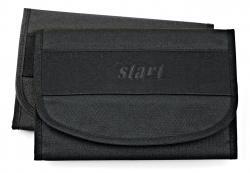 Autobordtasche in Leinenoptik mit Microfaserstreifen  schwarz