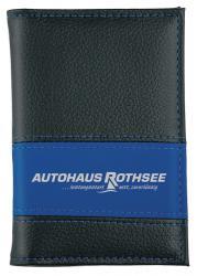 Führerscheintasche aus PU-Kunstleder schwarz/blau
