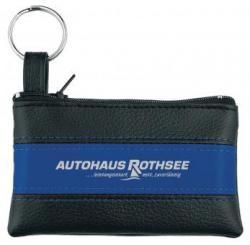 Schlüsseltaschen aus genarbtem PU-Material mit farbigem Mittelstreifen schwarz/blau
