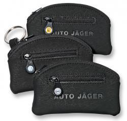 Runde Schlüsseltaschen aus Microfaser mit Geldfach & Markenlogo schwarz