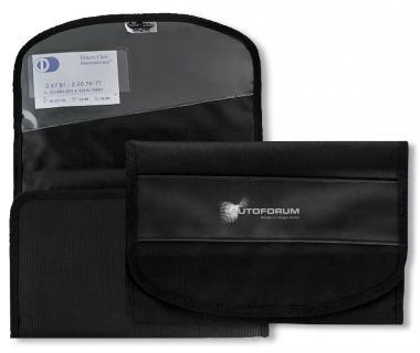 Autobordtasche aus Nylon in Leinenoptik & farbigem PU-Streifen