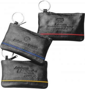 Schlüsseltaschen aus Kalbsleder mit farbigen Streifen