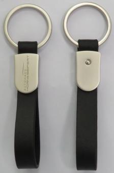 Metall-Schlüsselanhänger mit Lederschlaufe