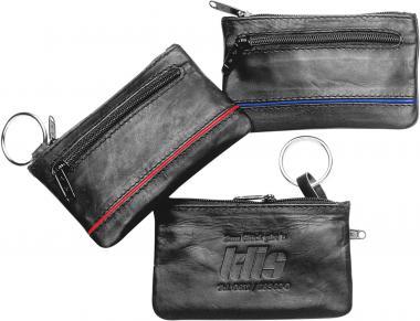 Schlüsseltaschen aus Kalbsleder mit farbigen Streifen & Geldfach
