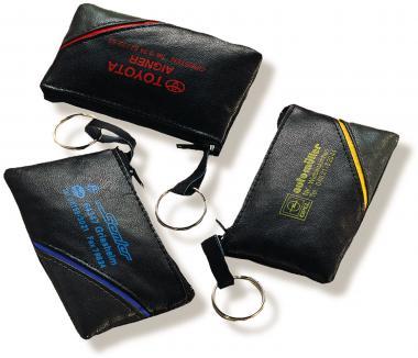 Schlüsseltaschen aus PU-Kunstleder mit Farbstreifen
