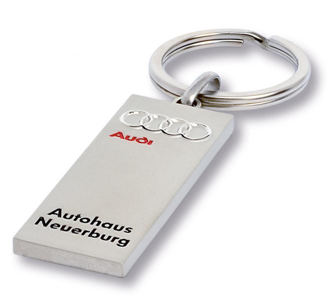Gegossene Metall-Schlüsselanhänger mit Ihrem Firmenlogo silbermatt Audi