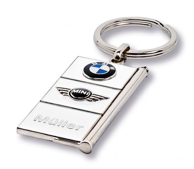 Gegossene Metall-Schlüsselanhänger mit Ihrem Firmenlogo silber/weiß BMW/Mini