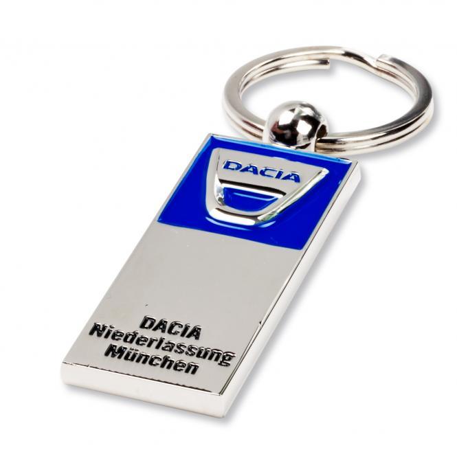 Gegossene Metall-Schlüsselanhänger mit Ihrem Firmenlogo silber/blau Dacia