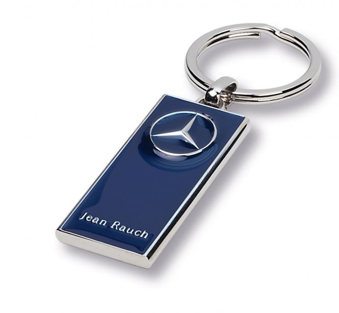 Schlüsselanhänger Mercedes silber/blau Merc.
