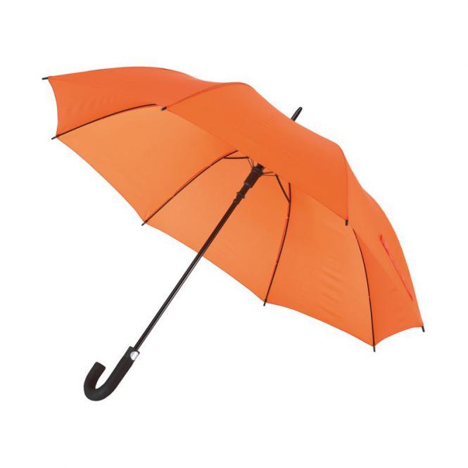 """Automatik-Golfschirm """"Subway"""" mit gebogenem Moosgummigriff orange"""