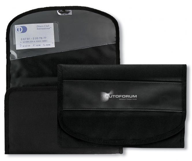 Autobordtasche aus Nylon in Leinenoptik & farbigem PU-Streifen schwarz