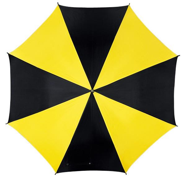 Automatikschirm mit gebogenem Kunststoffgriff schwarz/gelb