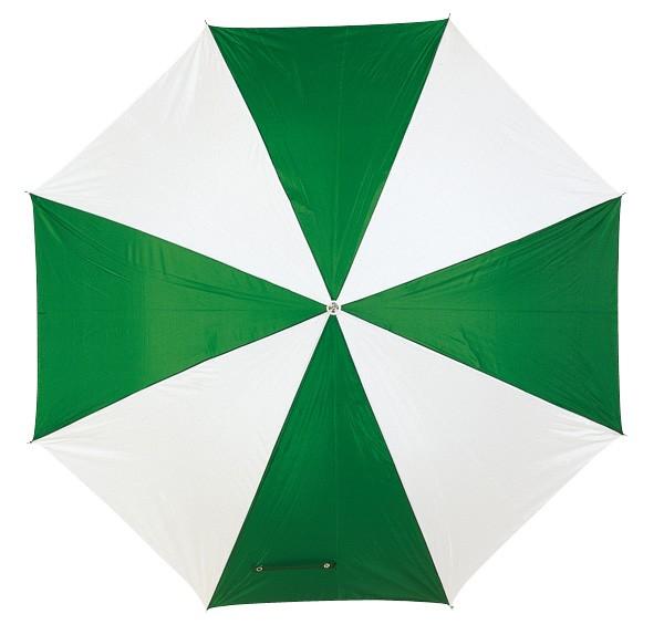 Automatikschirm mit gebogenem Kunststoffgriff grün/weiß