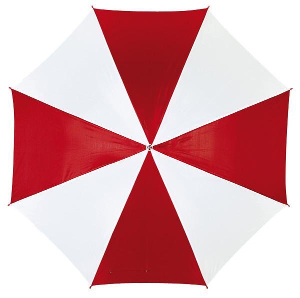 Automatikschirm mit gebogenem Kunststoffgriff rot/weiß