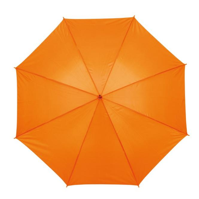 Automatikschirm mit hellem Holzgriff orange