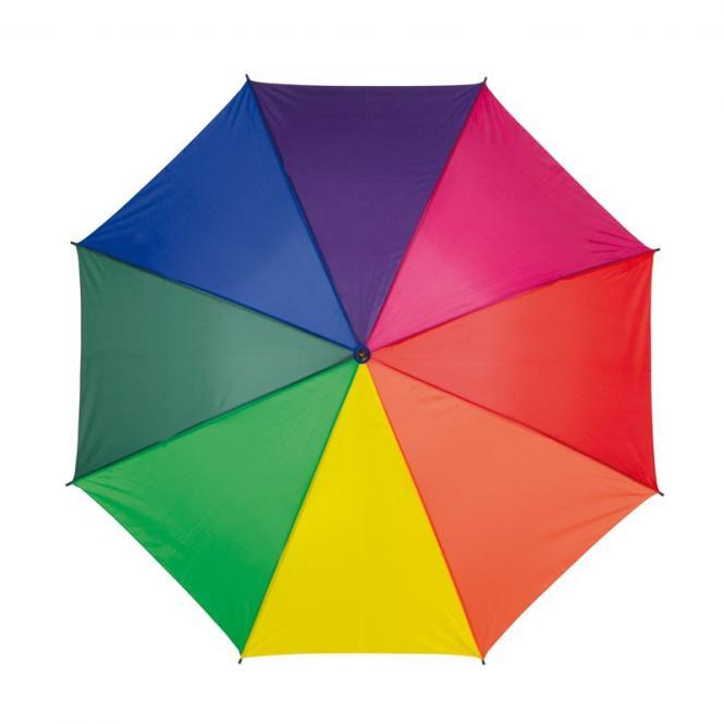 Automatikschirm mit hellem Holzgriff regenbogen-farbig