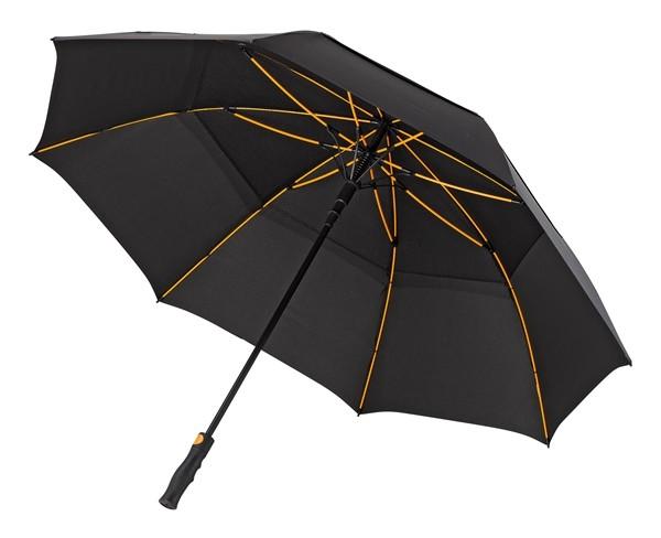 Windsicherer Golfschirm mit orangenem Fiberglasgestell schwarz