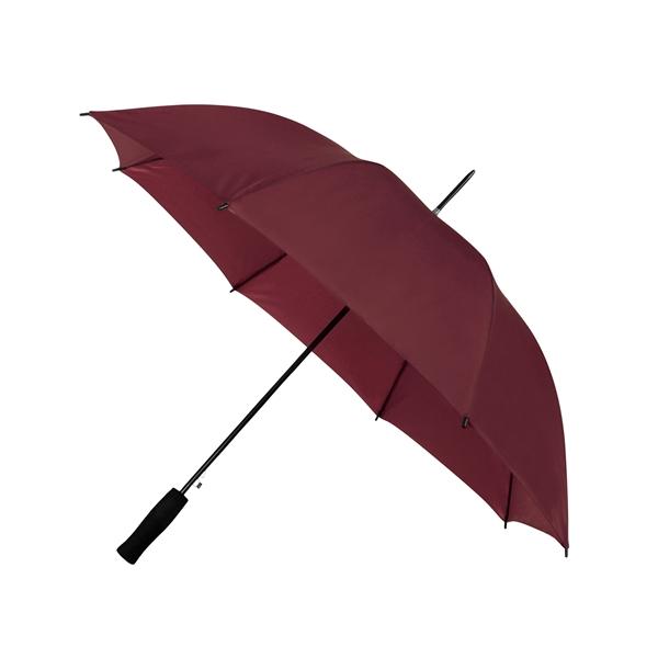 Preiswertester Automatik Schirm mit Glasfiberschienen und griffigem Schaumstoffgriff bordeaux