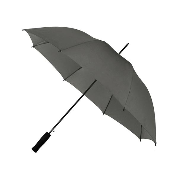 Preiswertester Automatik Schirm mit Glasfiberschienen und griffigem Schaumstoffgriff dunkelgrau