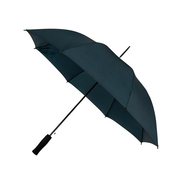 Preiswertester Automatik Schirm mit Glasfiberschienen und griffigem Schaumstoffgriff dunkelblau