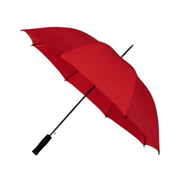 Preiswertester Automatik Schirm mit Glasfiberschienen und griffigem Schaumstoffgriff rot