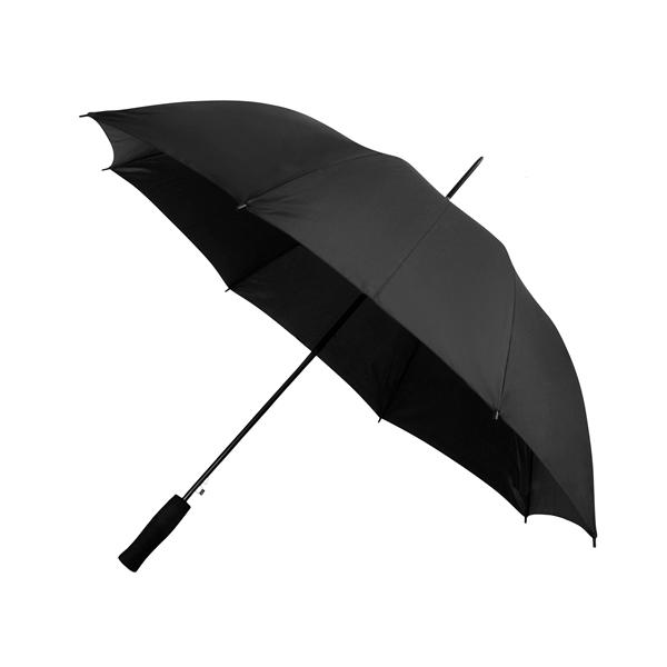 Preiswertester Automatik Schirm mit Glasfiberschienen und griffigem Schaumstoffgriff schwarz