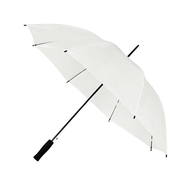 Preiswertester Automatik Schirm mit Glasfiberschienen und griffigem Schaumstoffgriff weiß