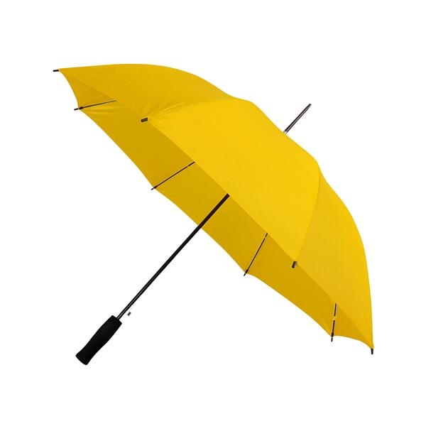 Preiswertester Automatik Schirm mit Glasfiberschienen und griffigem Schaumstoffgriff gelb