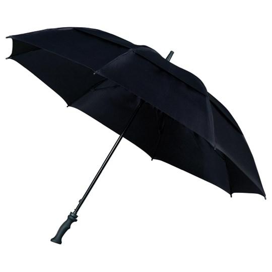 """Sturmschirm """"Falcone"""" mit sehr starkem doppeltem Glasfibergestell und Windöffnung in der Bespannung schwarz"""