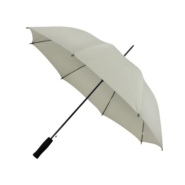 Preiswertester Automatik Schirm mit Glasfiberschienen und griffigem Schaumstoffgriff hellgrau