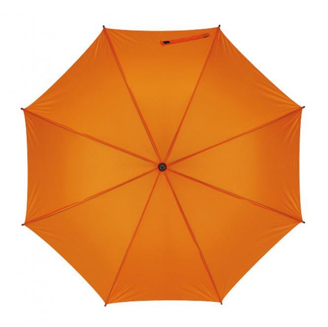 Holzstockschirm Automatik mit Polyesterbespannung orange