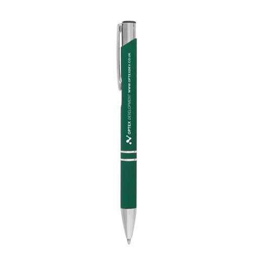 "Kugelschreiber ""Crosby"" mit gummierter Oberfläche dunkelgrün"