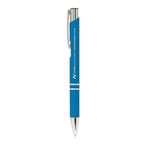 """Kugelschreiber """"Crosby"""" mit gummierter Oberfläche hellblau"""