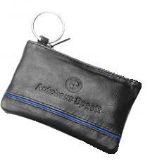 Schlüsseltaschen aus Kalbsleder mit farbigen Streifen schwarz/blau