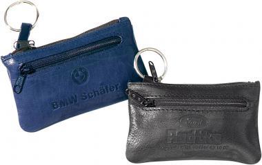 Schlüsseltaschen aus Büffel-Leder mit Geldfach schwarz