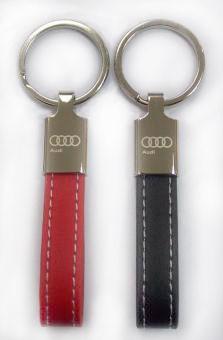 "Schlüsselanhänger ""Lederschlaufe"" - glänzendes Metall"