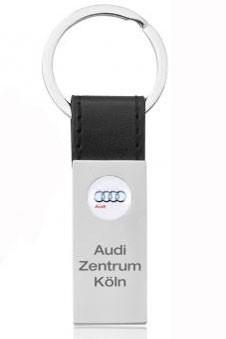 """Schlüsselanhänger """"Brand"""" mit farbiger Lederschlaufe schwarz/silber"""