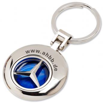 Runder Schlüsselanhänger mit festem Markenlogo Anhänger mit blauem Hintergrund  - silbermatt