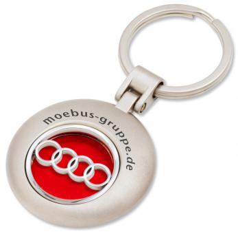 Runder Schlüsselanhänger mit festem Markenlogo Anhänger mit rotem Hintergrund - silberglänzend