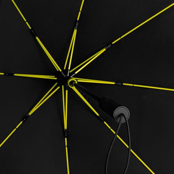 Bis 100 km/h sturmsicherer STORMaxi in schwarz mit sehr schicken trendfarbigen Gestellen schwarz/gelb