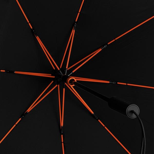 Bis 100 km/h sturmsicherer STORMaxi in schwarz mit sehr schicken trendfarbigen Gestellen schwarz/orange