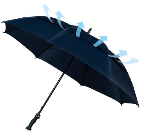 """Sturmschirm """"Falcone"""" mit sehr starkem doppeltem Glasfibergestell und Windöffnung in der Bespannung dunkelblau"""