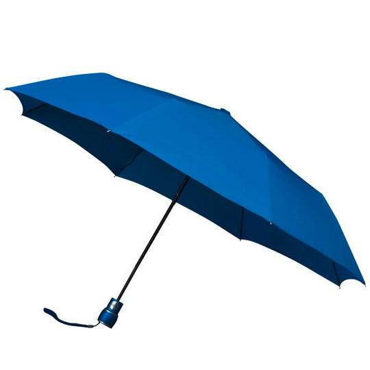 Wertiger & windsicherer Taschenschirm mit Glasfiberschienen mittelblau